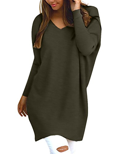 Style Dome Femme Tops Sexy Manche Longue Lace Shirts Epaules Dénudé Casual Haut Femme Chic Tunique Blouse, 723402*vert, XL