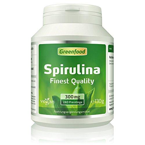 Spirulina, Finest Quality, 300 mg, 240 Presslinge - ideale Quelle für natürliche Vitamine, Mineralien, Spurenelemente und Chlorophyll. OHNE künstliche Zusätze. Ohne Gentechnik. Vegan.