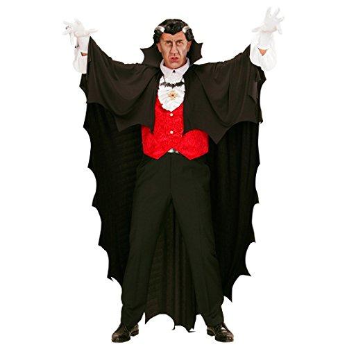 g Fledermaus Umhang 150 cm (Länge) Vampir Cape Gewand Dracula Mantel Schwarzer Umhang mit Stehkragen Halloween Kostüm für Erwachsene ()