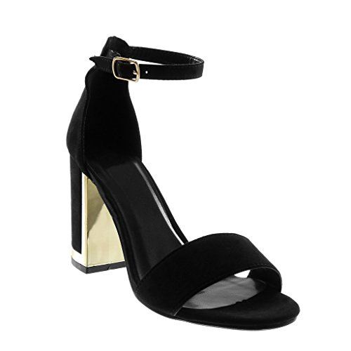 Angkorly Chaussure Mode Sandale Escarpin Lanière Cheville Femme Lanière Doré Talon Haut Bloc 9.5 CM Noir