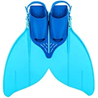 Flosse Schwimmflossen Meerjungfrau Flossen Monolithische Flossen für Kinder oder Teenager Schwimmen Training 34-40(215mm-240mm)Schuhgröße Blau / Gelb (Blau)