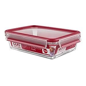 Emsa 513920 Frischhaltedose mit Deckel, Glas, Rechteckig, Volumen 1,3 Liter, Transparent/Rot, Clip & Close