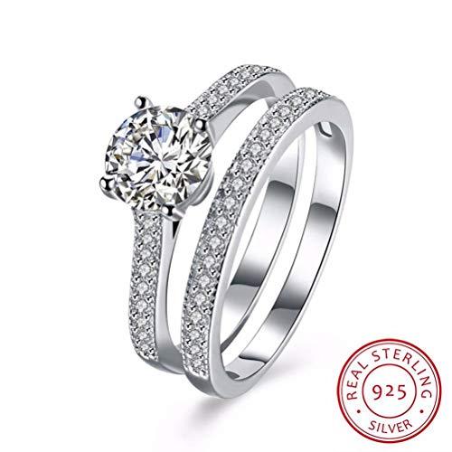 925 Sterling Silber Ring Damen,Solide Klassische CZ Strass Mode Neuheit Finger Ringe Sets Für Frauen Mädchen, Hochzeitstag Verlobung Ewigkeit Brautschmuck Festival Geschenk (Cz-ehering-sets Für Sie)