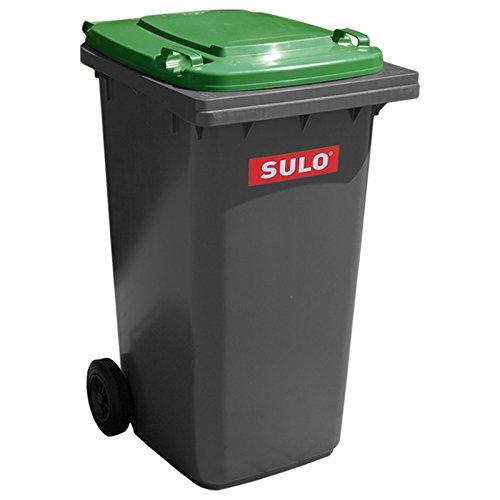 SULO Mülltonne Müllbehälter 2 Rad MGB ***80 Liter grau mit grünem Deckel*** (Mit Rädern Mülltonnen)
