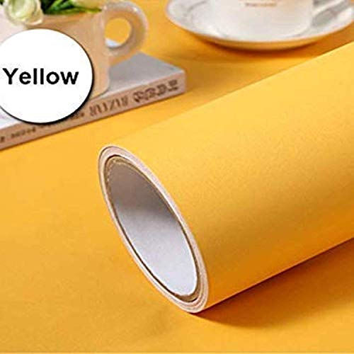 CVANU Yellow Contact Paper Wallpaper Solid Color Peel and Stick Wallpaper Self Adhesive Wallpaper Removable Shelf Liner Drawer Liner Yellow Gift Wrapping Paper Vinyl Film Roll
