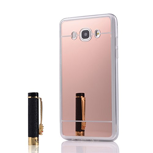 coque girlyard galaxy s6 miroir en silicone or rose