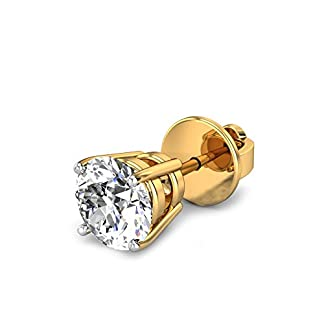 Candere By Kalyan Jewellers Joseph 14k Yellow Gold and Diamond Stud Earrings