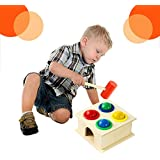 GoodLuck Baybee Wooden Hammer Case Toy For Kids | Educational Activity Toy For Kids | Pounding Bench, 4 Balls,1 Hammer For Girls & Boys
