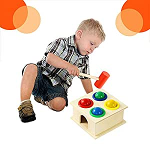 GoodLuck Baybee Wooden Hammer Case Toy for Kids   Educational Activity Toy for Kids   Pounding Bench, 4 Balls,1 Hammer for Girls & Boys