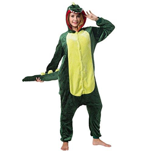 Witziger Krokodil-Onesie Jumpsuit, Süßes Krokodil-Kostüm - Fasching, Karneval, Party, Hausanzug in Grün Cosplay Einteiler, Sleepsuit Kapuze, lustiges Tier-Outfit, flauschig bequem, Krokodil-Pyjama