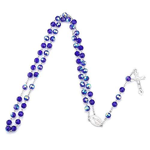 ANLW Rosenkranz Halskette Tief Blaues Glas Kristall Perlen Heiliges Land Religion Jesus Katholischen Kreuz Frauen Halskett