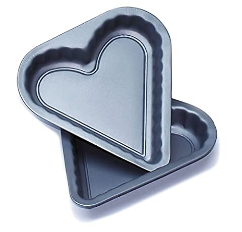 Heart Shaped Sandwich Pans Twin Pack 8 inch Teflon ®™ Non Stick Cake Tins by Lets Cook