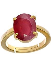 Ruby/ Manik{Manak/Mankya} 10.2cts Or 11.25ratti Stone Panchdhatu Adjustable Ring For Women By AKSHAY GEMS