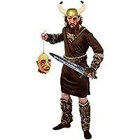 Déguisement accessoires pour adulte de guerrier Viking revenant de campagne avec une tunique, une ceinture, des manchettes et des jambières + un casque à cornes + une épée de 75cm + une tête coupée + un tube de faux sang + du maquillage. Idéal pour les fêtes d'Halloween ou les enterrements de vie de garçon.