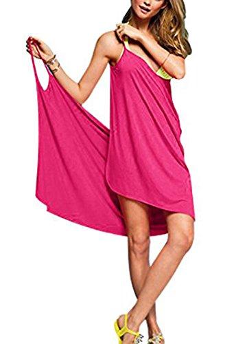 Minetom Damen Sommer Sexy Ärmelloses Wickelkleid Tiefer V-Halsausschnitt Stretch Kleid Strand Bikini Kittel Rückenfrei Strandkleid Rose One Size -