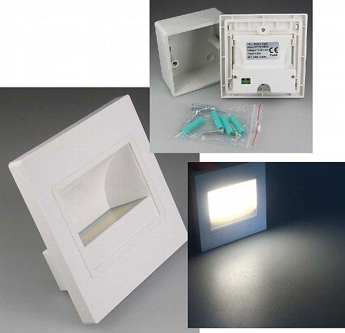 Lámparas LED empotrables para pared cuadrado blanco, LED COB de 1,5 W...