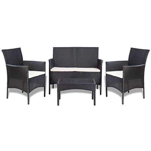 Anself set divani da giardino in rattano 7 pz nero