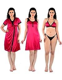 Senslife Women s Satin Solid Nightwear 4pc Set of Short Nighty Short Robe  Bra Thong SL068 Purple afe156ef8