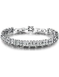 """GULICX Bracelet Swarovski Elément""""Carré Simple""""-Bracelet Plaqué Or Orné  Zircon Cubique Bijou a43e99955779"""