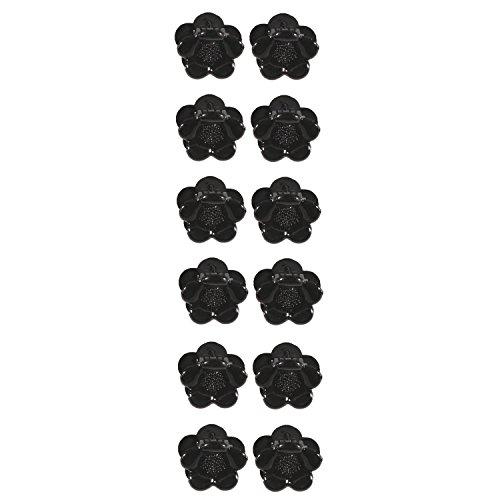 Lot de 12 Mini Pinces Crabe en Plastique - Noir - Forme de Fleur - Accessoire Cheveux Coiffure
