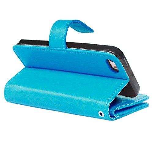 SainCat iPhone 5 / 5S / SE Custodia,Creative Disegno Stampa Libro Stile PU Leather Flip Chiusura Magnetica Protettiva Portafoglio Wallet in Pelle Stand Cover Case Con Funzione di Supporto e Morbido TP Blu #2