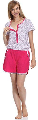 Be Mammy Femme une pièce Pyjamas d'allaitement BE20-135 Blanc/Rose