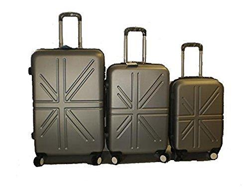 Set 3 Trolley rigide in ABS e policarbonato 4 ruote piroettanti colori vari (GRIGIO SCURO)