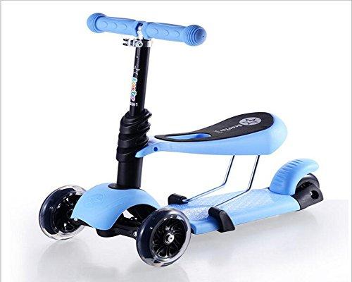 LINANA Drei-In-One Kinder Pedale Pedal Schaukel Rollstuhl Baby Roller Drei-Rad Walker Höhenverstellbare Extra-Breite Deck PU-Flash-Räder Für Kinder Von 2 Bis 14 Jahre Alt,Blue (Walker Breit Extra)