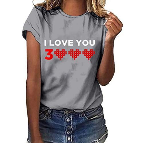 WOZOW Shirts Damen Short Sleeve Solid O Neck Slogan I Love You 3000 Times for Ironman Hearts Muster Print Druck Oberteile Tops Loose Geschenk Gift Blouse (S,Grau -Damen)