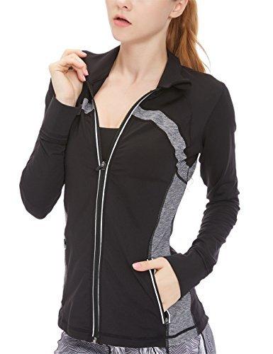 icyzone Sport Jacke Damen Langarm Shirt - Trainingsjacke voll Reißverschluss Laufshirt mit Daumenloch und Seitentasche (Black, S)