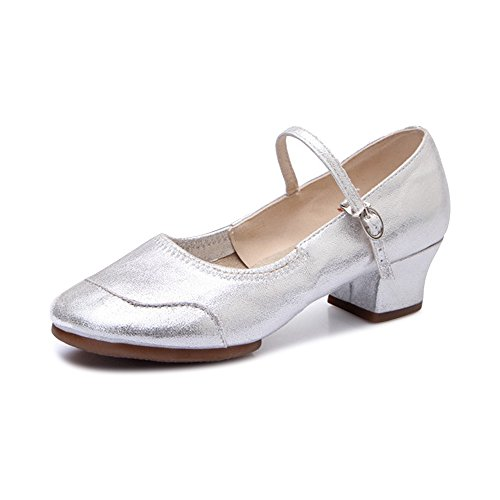 Damen Tanzschuhe Pumps Weiche Sohle Tango Latein Schuhe Block Absatz Silber