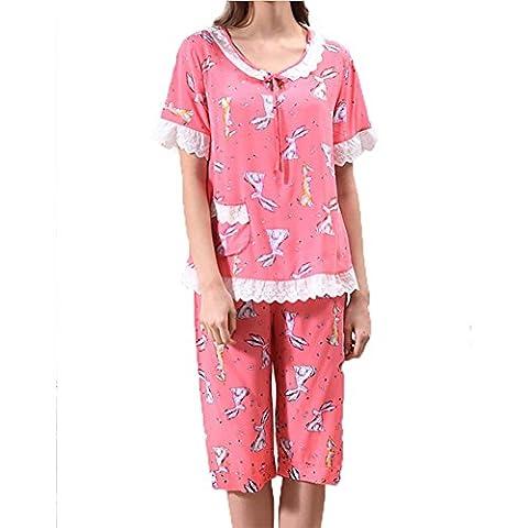 YUYU Frauen Sommer Baumwolle Pyjamas Kurze Ärmel Nachthemd Handwerksleistungen Zwei Farben Nachthemd , watermelon red , (Baby In Watermelon Kostüm)