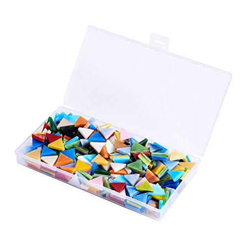 Toyvian Mosaikfliesen aus Glas, gemischte Farben, zum Basteln, Heimdekoration, handgefertigte Geschenke (Dreieck, ca. 350-360 Stück), 1 Box