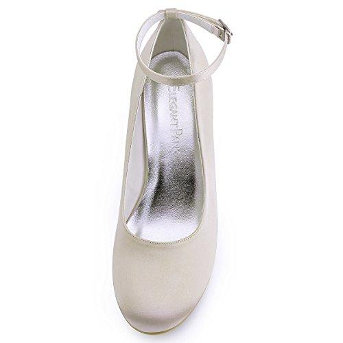 ElegantPark A610 Escarpins Femme Satin Bout Rond Bride Cheville Compense Chaussures de mariee Bal Champagne