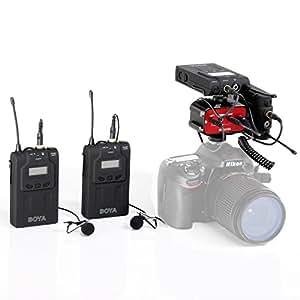 BOYA BY-WM6 UHF Système de micro sans-fil omnidirectionnel sans fil à deux canaux Deux émetteurs et deux récepteurs avec Saramonic SR-AX100 Mélangeur audio pour caméscopes DSLR