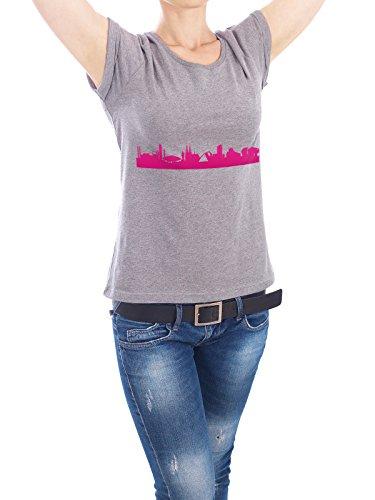 """Design T-Shirt Frauen Earth Positive """"Eindhoven 04 Pink Skyline Print monochrome"""" - stylisches Shirt Abstrakt Städte Städte / Weitere Architektur von 44spaces Grau"""