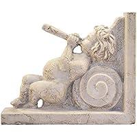 Putto suonatore reggimensola in marmo Botticino scolpito a mano