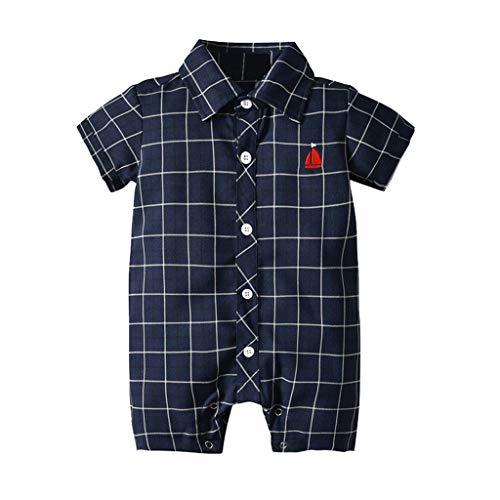y Overalls Infant Baby Boys Kurzarm Herren Karomuster Jumpsuit 3-24 Monate Kurzarm Bodysuits Overalls Mit Kariertem Bart Und Bootsmotiv(Marine,3-6 Monate/70) ()