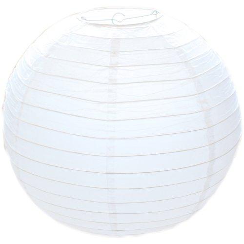 1x Weiß Rund Papier Bamboo Style Gerippter Lampenschirm 50cm/50,8cm -