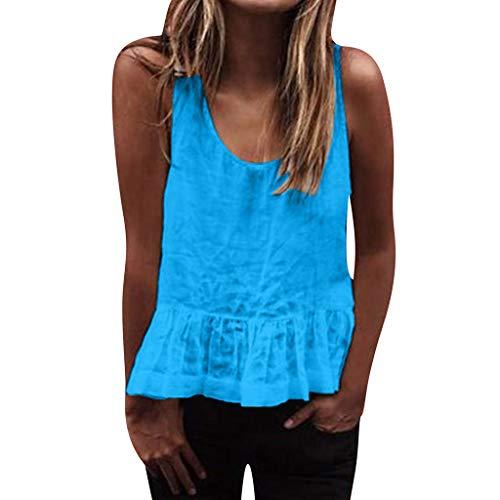 Tohole T-Shirt Damen Sommer Schulterfrei Camis Ring Crop Top Leibchen Bluse TräGershirts Strappy Tops Vest Weste Pulli Sexy äRmellos Shirt Mode Rundhals Camisole Tank (Blau 3,XL)