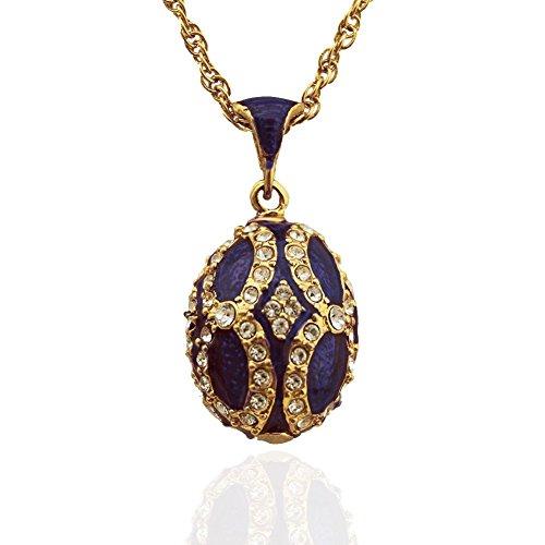 Anhänger Ei aus Fabergé vergoldet, Email, Swarovski Elements