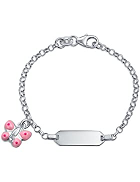 Bling Jewelry 925 Silber Emaille Rosa Schmetterling Charme Mädchen ID-Tag Armband