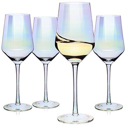 Copas para vino, Juego de 4 copas de vino tinto o blanco tamaño grande – Excelente set de regalo para mujeres, hombres, bodas, aniversarios, Navidad, cumpleaños– 500 ml, Cristal 100% libre de plomo