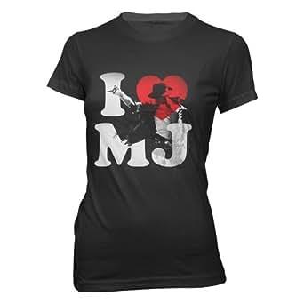 Michael Jackson - - I Heart Mj Mädchen Kurzarm T-Shirt in Schwarz, Small, Black
