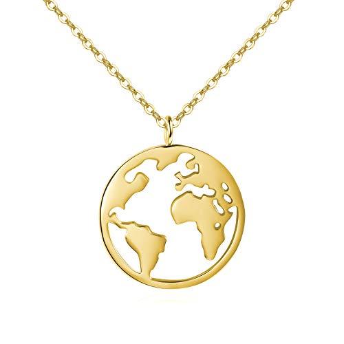 URBANHELDEN - Damen-Kette mit Weltkarten Anhänger - Hochwertige Hals Kette World Amulett aus 925er Sterlingsilber - Damen Schmuck in Gold