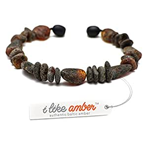 Amber Bracelet - sizes from 18 to 23cm - 100% Genuine Raw Baltic Amber Beads - Adult Men Women - Authentic Curative Adornment - Packed in Organza Gift Bag - BLK.U18