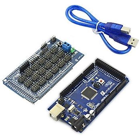 Mega 2560 ATmega2560, Sensor Shield V1.0 Junta de expansión, DuPont Línea y cable USB Set