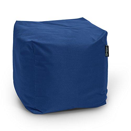 BuBiBag Sitzsack Würfel 45x45x45cm mit Füllung Cube Sitzwürfel Sitzkissen Bodenkissen Kissen Sessel BeanBag (dunkelblau/Marine)