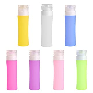 Wiederauffüllbare Trageflasche aus Silikon von Alcyoneus. Reisebehälter für Lotion, Bad, Shampoo weiß weiß 60 ml