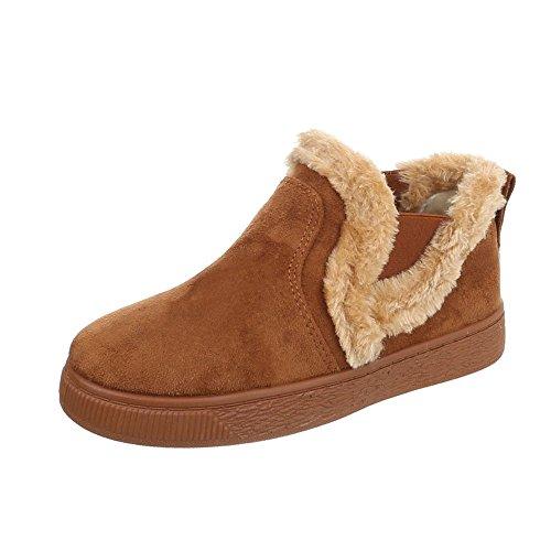 Ital-Design Klassische Stiefeletten Damen-Schuhe Schlupfstiefel Flach Warm Gefütterte Stiefeletten Camel, Gr 39, Cfc-10- (Damen Stiefel Camel Flache)